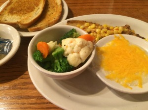 Trout, steamed veggies and grits w cheese- healthy and tasty!